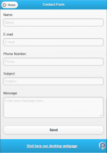 jquery mobile contact form